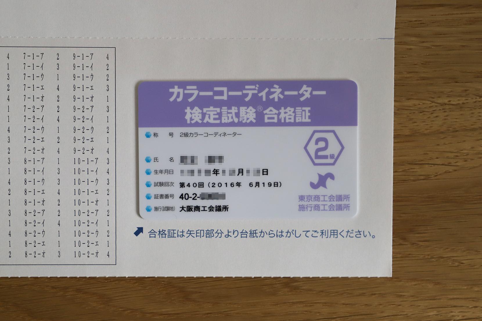 カラーコーディネーター2級